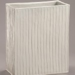 2014 白磁条紋直方花器 38×32×16
