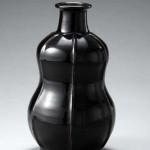 2009 黒釉盛絵瓶 29.2×17.5