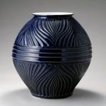2007 瑠璃釉鎬手大壺  37×36×36